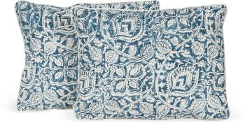 Pair of Senja Print Pillows with Solid Welt