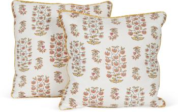 Pair of Sultans Garden Pillow with Faux Bois Backing and Welt