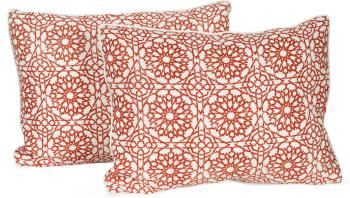 Pair of Mamounia Petite Print Pillow with Natural Backing and Welt