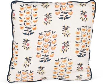 Sultans Garden Pillow with Faux Bois Backing and Contrast Welt