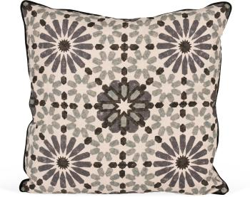 Marrakesh Baltic Print Pillow with Black Backing and Welt
