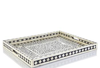 Floral and Diamond Bone Inlay Tray