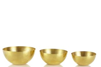 Set of 3 Nesting Hammered Brass Bowls