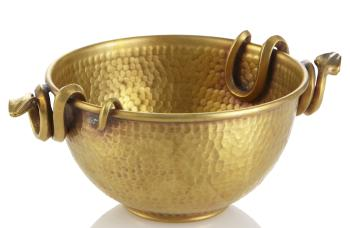 Small Brass Snake Handle Bowl