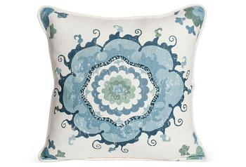 Sultan Suzanni Print Pillow with White Welt and Matching Back